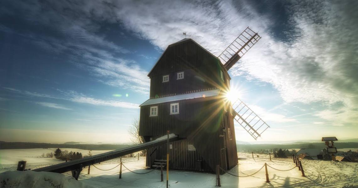 Die Kottmarsdorfer Mühle in der Wintersonne