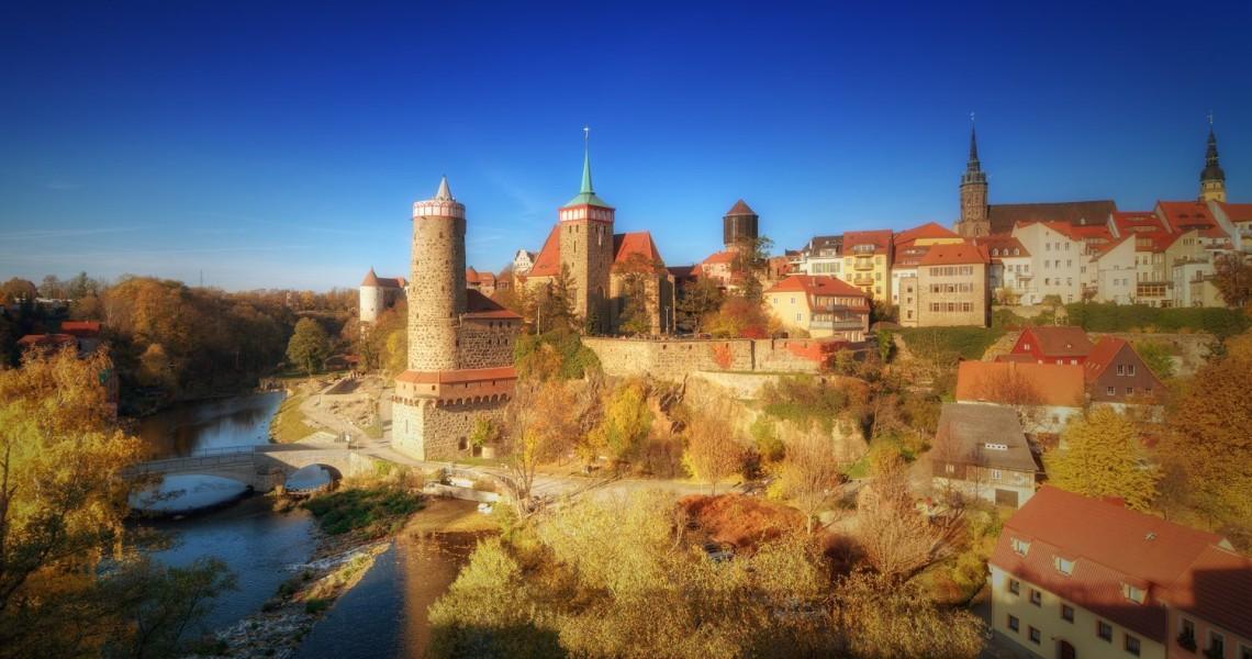 Blick auf die Alte Wasserkunst und Altstadt von Bautzen