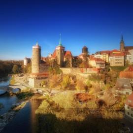 Bautzen – Blick auf die Alte Wasserkunst und Altstadt